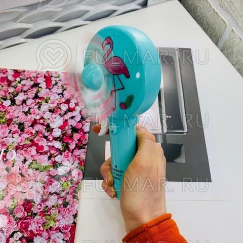 Детский ручной мини вентилятор Фламинго (цвет: голубой)