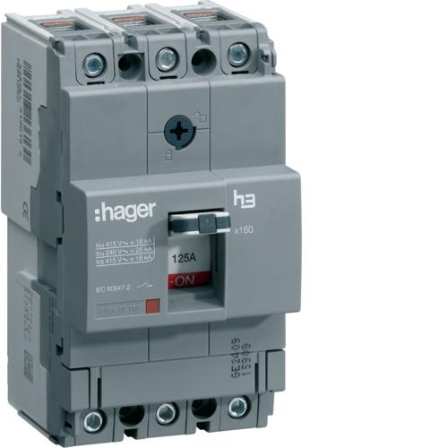 Автоматический выключатель, x160, TM фикс., 3P 18kA 125A, 440В АС
