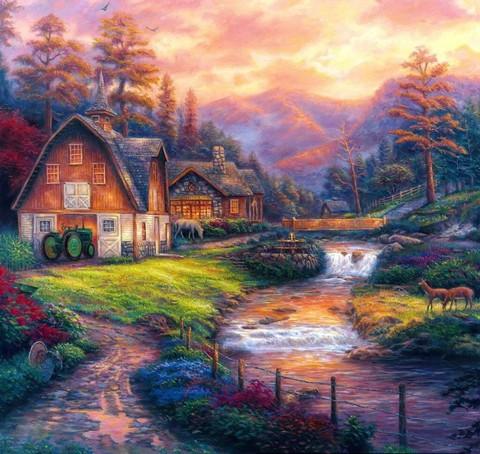 Картина раскраска по номерам 40x50 Ферма у водопада