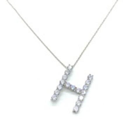 Кулон буква H из серебра с ослепительными цирконами