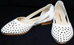 Белые балетки с острым носома Evromoda 286.85 Summer White.