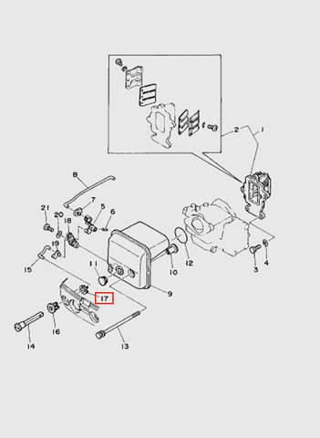 Втулка ручки подсоса  для лодочного мотора T15, OTH 9,9 SEA-PRO (4-17)