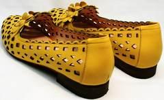 Красивые модные туфли в дырочку женские Phany 103-28 Yellow.