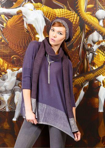 Фото вязаный шарф темно-ежевичного цвета из полушерсти - Шарф Ш807-026 (1)