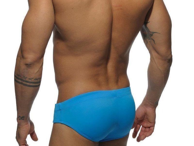 Мужские плавки брифы голубые с Пуш -ап Addicted Orange-Navy  Stripes Push ap