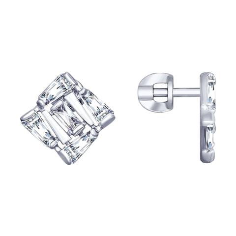 94022990- Серьги-пусеты из серебра  c багетными фианитами