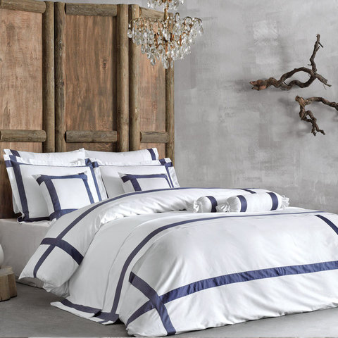 Постельное белье BANDA NAKISLI темно-синий  deluxe TIVOLYO HOME Турция