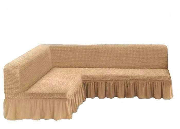 Чехол на угловой диван без подлокотников, бежевый