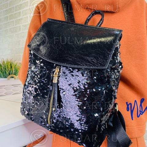 Рюкзак школьный с пайетками меняющий цвет Чёрный-Серебристый А4 с карманом-молнией