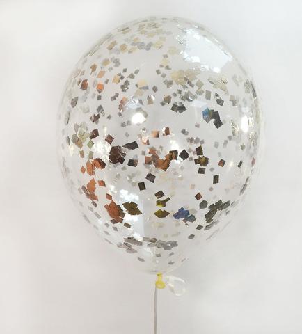 Шары с конфетти серебро квадратик