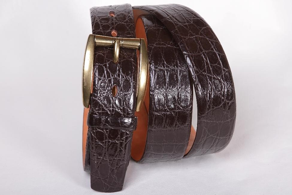 Мужской ремень из крокодила шоколадного цвета 35-09