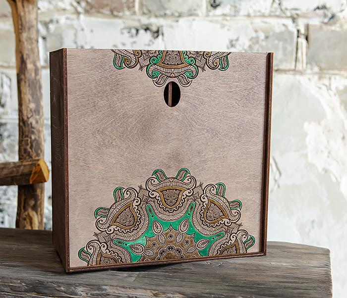 BOX234-3 Подарочная коробка «Мандала» с ручной росписью (25*25*12 см)