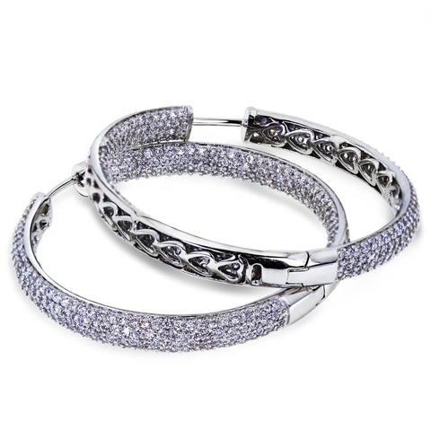 7785- Серьги кольца из серебра с микроцирконами в стиле Grisogono