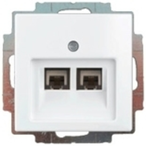 Розетка телефонная двойная RJ11х2. Цвет белый. ABB Basic 55. 1753-0-0095+130 104 21