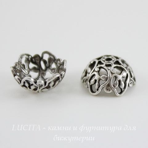 Винтажный декоративный элемент - шапочка 10х5 мм (оксид серебра) ()