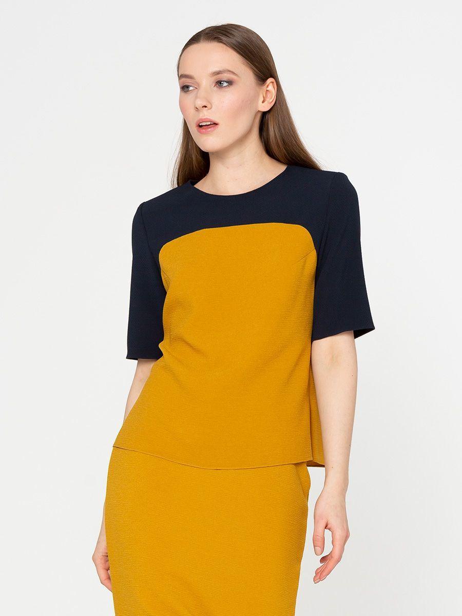 Блуза Г581-125 - Блуза свободного силуэта из комбинированных тканей двух цветов. Прекрасный вариант в офис и на каждый день!