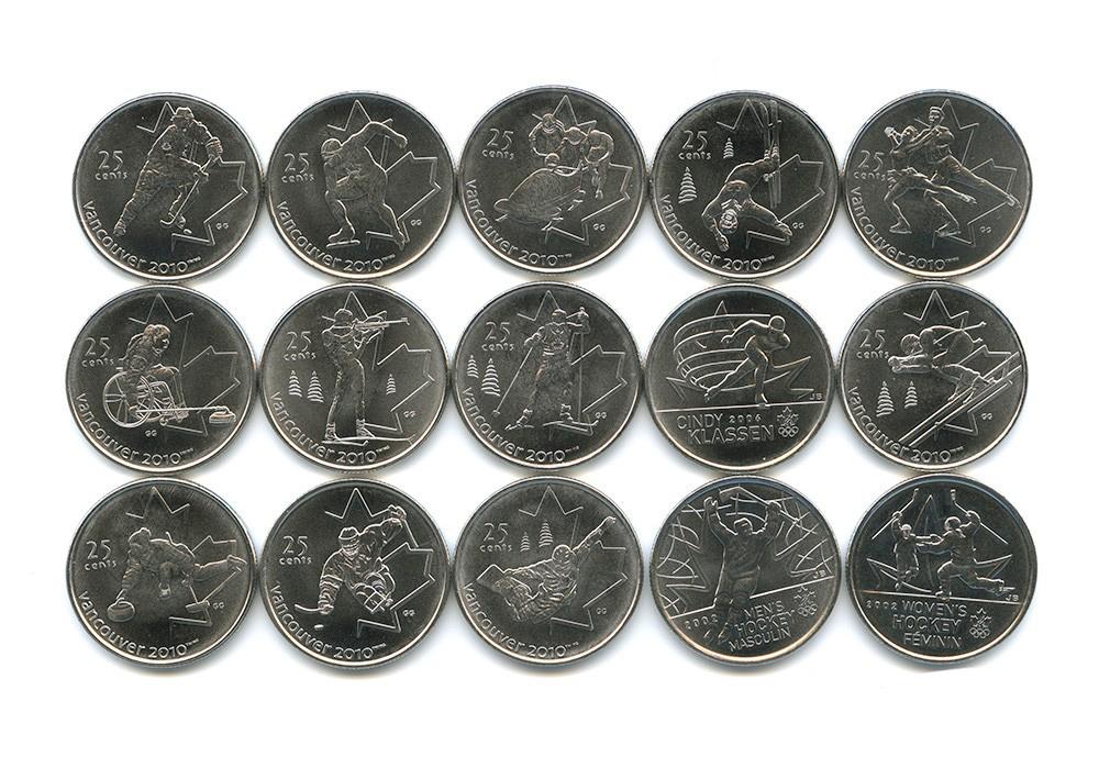 """Набор """"Олимпиада в Ванкувере"""" (15 монет) 2007-2009 год UNC"""