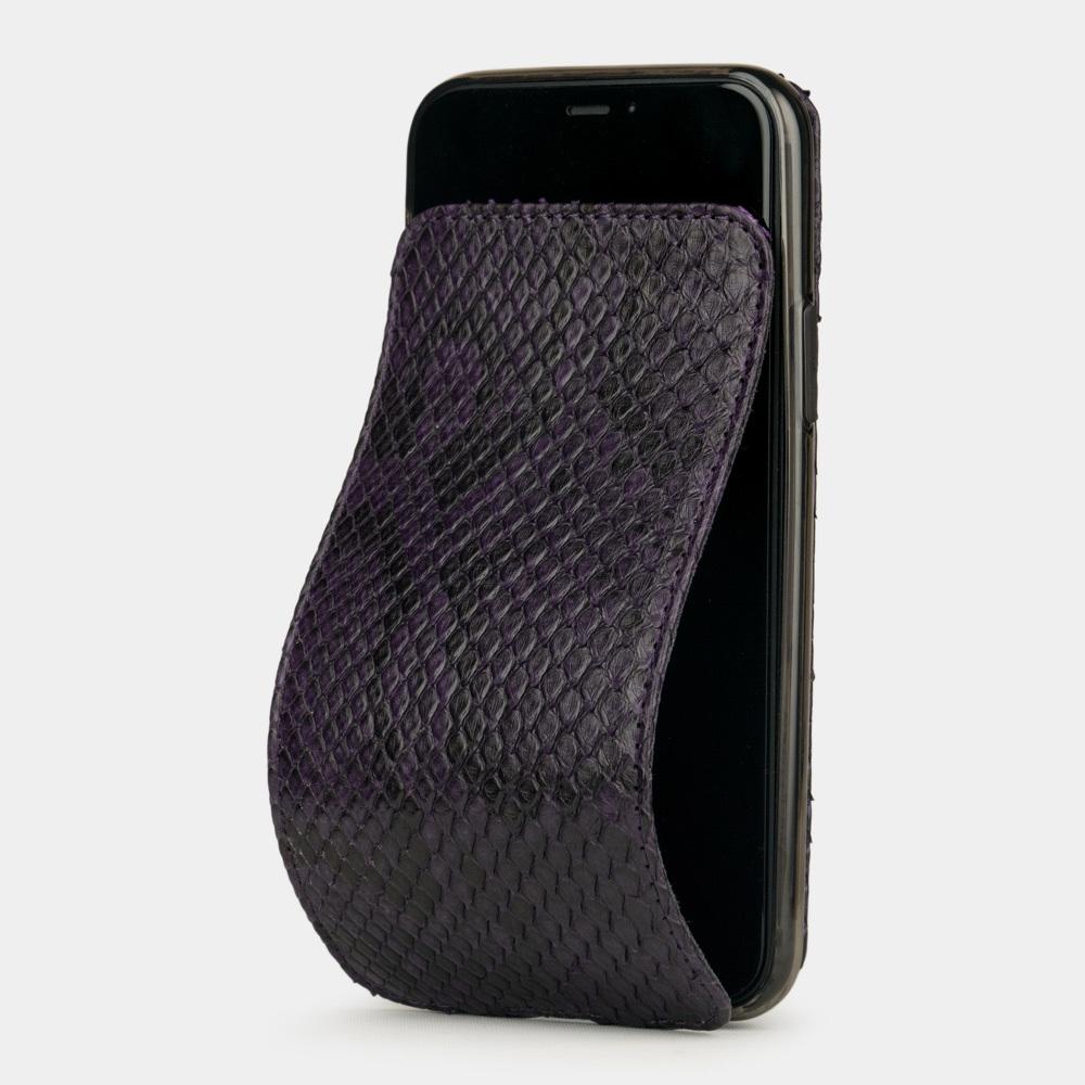 Чехол для iPhone 11 Pro из натуральной кожи питона, фиолетового цвета