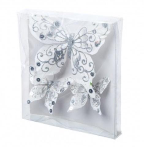 Набор бабочек с глиттером на прищепках 3шт., (15см и 8см), цвет: белый