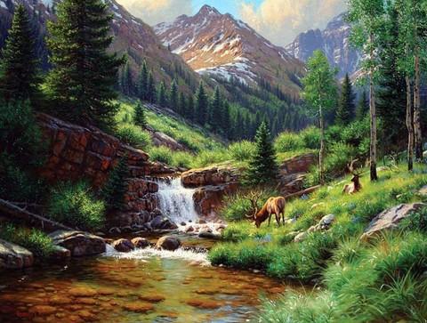 Картина раскраска по номерам 40x50 Лоси на водопое у водопада