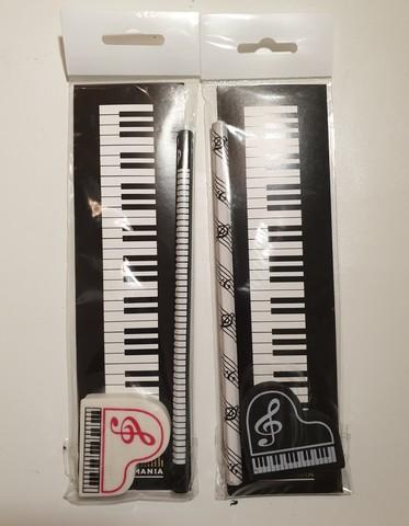 Канцелярский набор с музыкальной символикой: карандаш, закладка, ластик.