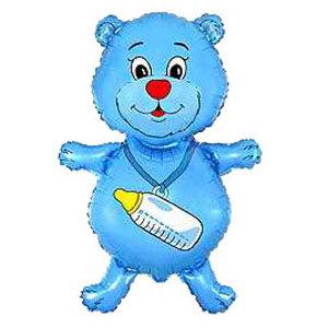 Фольгированный шар Медвежонок с бутылочкой голубой 92 X 59см
