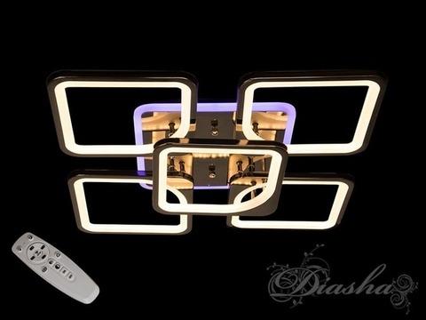 Черный Хром Светодиодная люстра с димером и подсветкой 150W
