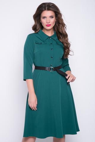 """<p>.Модное платье Сафари подчеркивает женственность и делает Ваш образ привлекательным. Отрезное по талии, юбка полусонце, сбоку замок, рукав 3/4, по переду планка на пуговицах, отложной ворот, модные клапаны.&nbsp;<span>Ремень можно приобрести в разделе """"аксессуары"""".&nbsp;(Длины: 44-46=103см; 48-50=104см; 52=105см)&nbsp;</span></p>"""