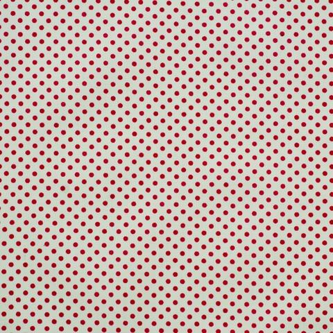 Ткань хлопковая малиновый горошек на белом