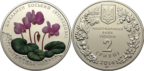 2 гривны 2014 Цикламен Косский (Кузнецова) Флора и Фауна