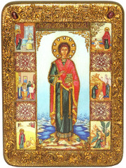 Инкрустированная икона Святой Великомученик и Целитель Пантелеймон 29х21см на натуральном дереве в подарочной коробке