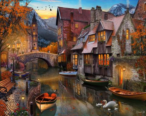Картина раскраска по номерам 40x50 Улочка в Венеции