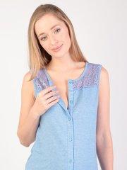 Евромама. Сорочка-халат на пуговках для беременных и кормящих, темно-голубой вид 5