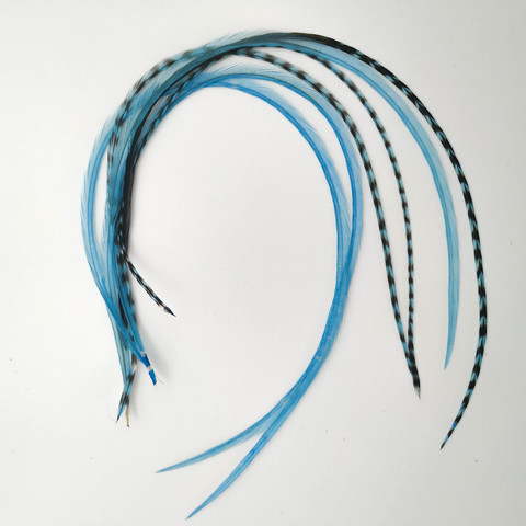 Перья петуха в волосы 20-25 см. 6 шт. (бирюзовый)