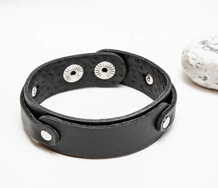 BL804-1 Мужской кожаный браслет черного цвета фото 03
