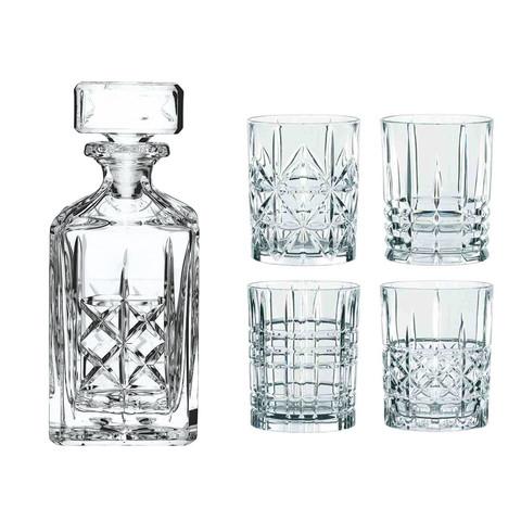 Набор из 4 хрустальных стаканов для виски и декантера Highland