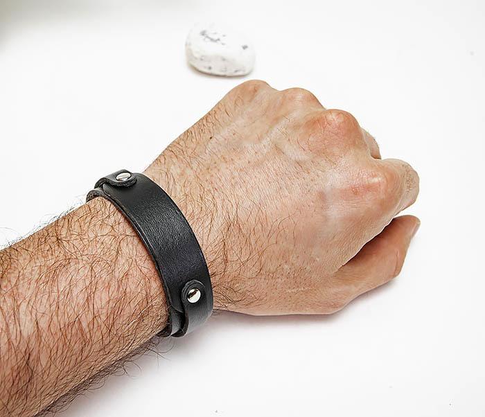 BL804-1 Мужской кожаный браслет черного цвета фото 06