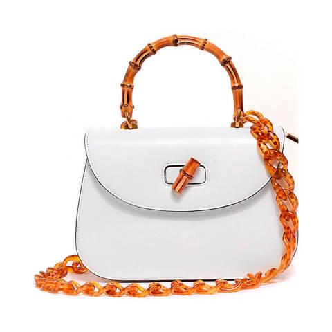 Белая каркасная сумка с контрастными ручками