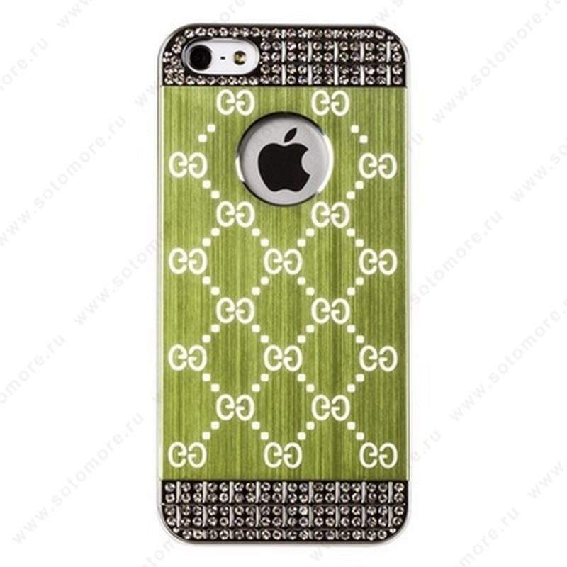 Накладка GUCCI металлическая для iPhone SE/ 5s/ 5C/ 5 серебро зеленая