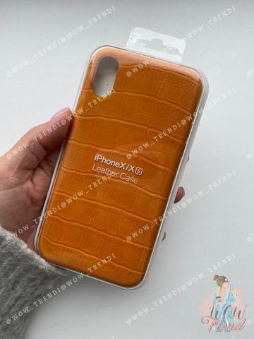 Чехол iPhone X/XS Leather case full /yellow/