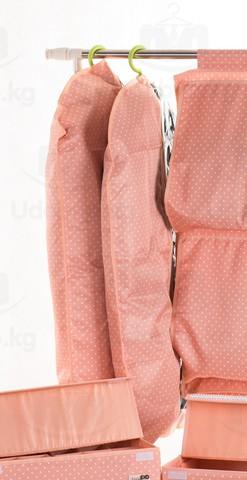 Чехол для средней одежды с прозрачной половиной, 60*100 см (розовый в горошек)