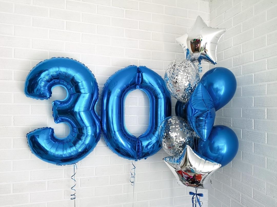 Шарики на Юбилей Букет из шаров с синими цифрами 66382329_1526226314187148_8764303737346842449_n.jpg