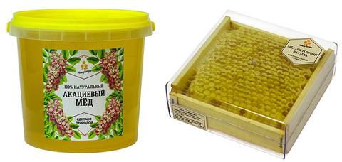 Комплект натурального меда: акациевый мед (1400 грамм) и сотовый мед (350 грамм)