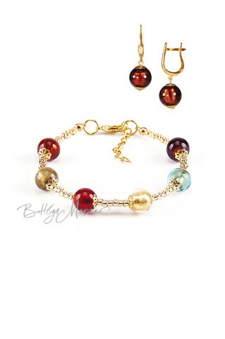Комплект Carnavale Oro (коричневые серьги на серебре, браслет)