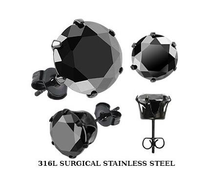 SERDK-4K Мужские серьги - гвоздики с черным камнем (4 мм), сталь, «Spikes»