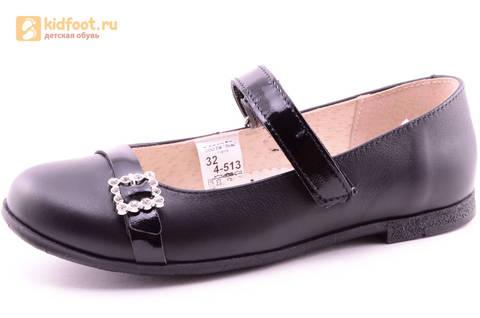 Туфли для девочек из натуральной кожи на липучке Лель (LEL), цвет черный. Изображение 1 из 20.