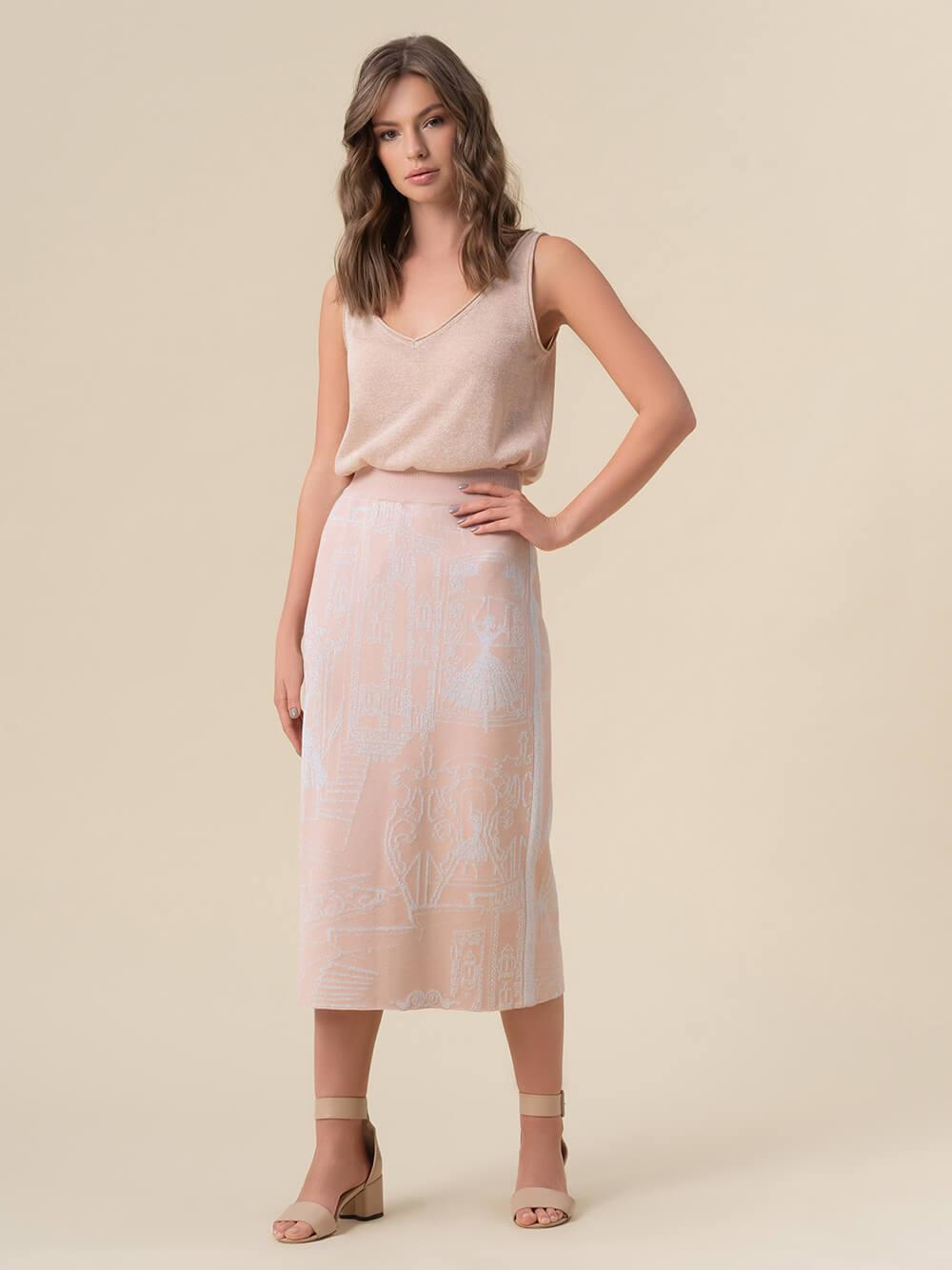 Женская юбка-карандаш с принтом светло-розового цвета из вискозы - фото 1