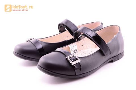 Туфли для девочек из натуральной кожи на липучке Лель (LEL), цвет черный. Изображение 6 из 20.