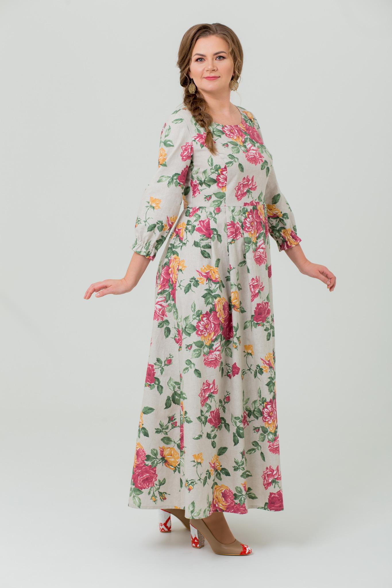 Платье льняное Мелодия любви макси
