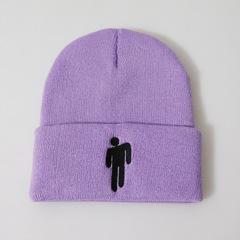 Вязаная шапка с отворотом и вышивкой Билли Айлиш (Billie Eilish) сиреневая